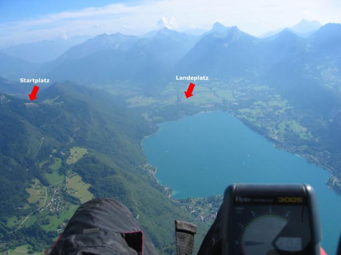 Flug um den See mit Blick auf Start- und Landeplatz