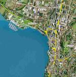 """Paragliding Fluggebiet Europa » Schweiz » Zug,Zugerberg,Übersicht der zwei anspruchsvolleren Landeplätze """"Schützenmatte"""" und """"Guggiwiese"""" in der Stadt Zug."""
