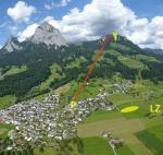 Paragliding Fluggebiet Europa » Schweiz » Schwyz,Kleiner Mythen,Übersicht (Blick Ritg: N; rot: Gondelbahn)