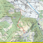 Paragliding Fluggebiet ,,Wanderweg von Studen (Landeplatz) richtung Schrot (Startplatz) (rot)