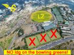 Paragliding Fluggebiet Afrika » Südafrika,Lion's Head,Situation am Landeplatz. Absolut KEINE Landungen auf den Bowling Greens! - die LZ ist gross genug...