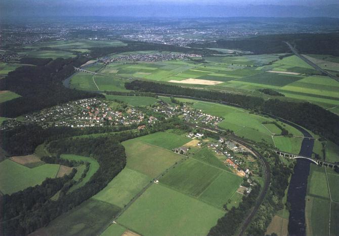 Von unten: Guntershausen, Dittershausen, Bergshausen, Kassel