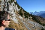 Paragliding Fluggebiet Europa » Schweiz » Uri,Schön Chulm,Blick zurück über den Aufstiegsweg Richtung Ruogig und dahinter Schärhorn und Clariden. In dieser Richtung verstecken sich noch zwei schlecht sichtbare Heuseile (Siehe Karte)