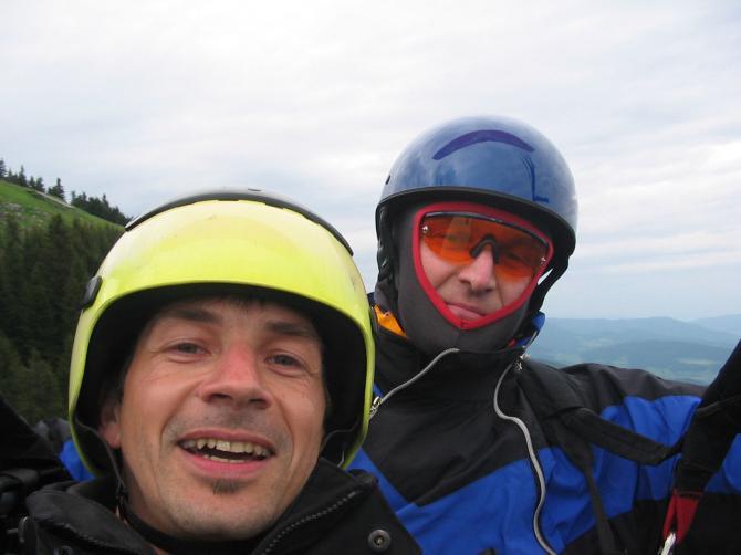 Bumsti und Heimo(rechts) beim Tandemflug.