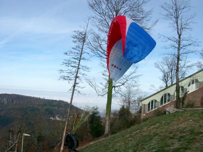 Winterlicher Start am Weststartplatz Merkur, Baden-Baden.