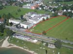 Paragliding Fluggebiet ,,Luftbild des Landeplatzes in Lochau bei der ehemaligen Käsefabrik Rupp.