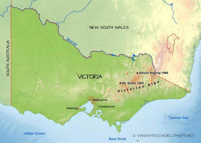 Bright Topographie Victorian Alps overall  Bright liegt westlich vom hier bezeichneten Mt. Bogong 1986 210km NO von Melbourne Grafic: freeworldmaps.net