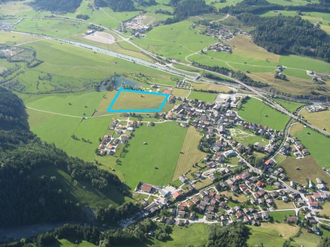 Blau: Landezone Hollersbach (südl. des Flusses)