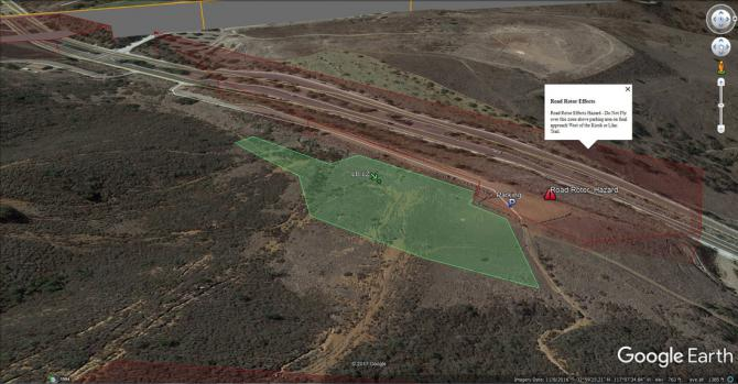 LZ (green) and rotor zone (red) behind road. pix courtesy ©sdhgpa