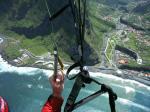 Paragliding Fluggebiet ,,links der Rasenplatz und rechts der Sandstrand von Sao Vicente, beides Landeplätze auf der Nordküste Madeira
