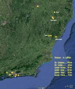 Paragliding Fluggebiet Südamerika » Brasilien,Castelo - Rampa de Ubá,Distanzen zu anderen FG G: Gmaps/screenshoot/bearb.