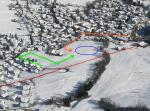 """Paragliding Fluggebiet Europa » Schweiz » Graubünden,Crap Sogn Gion,Landeplatz Flims (blau) mit Linksvolte (orange) und alternativer """"Rechtsvolte"""" (grün) mit viel Spielraum zwischen Sesselbahn (rot) und Häuser, aber abfallender Landewiese!"""