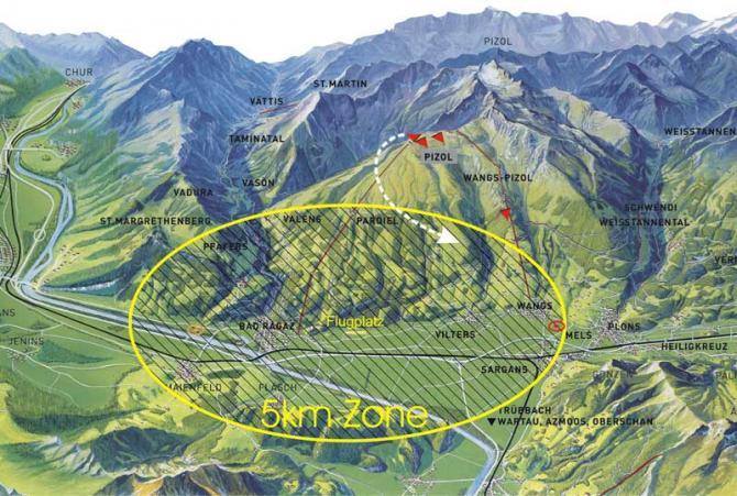 Zeigt das Gebiet mit Bahnen Startrichtungen und Flughafen