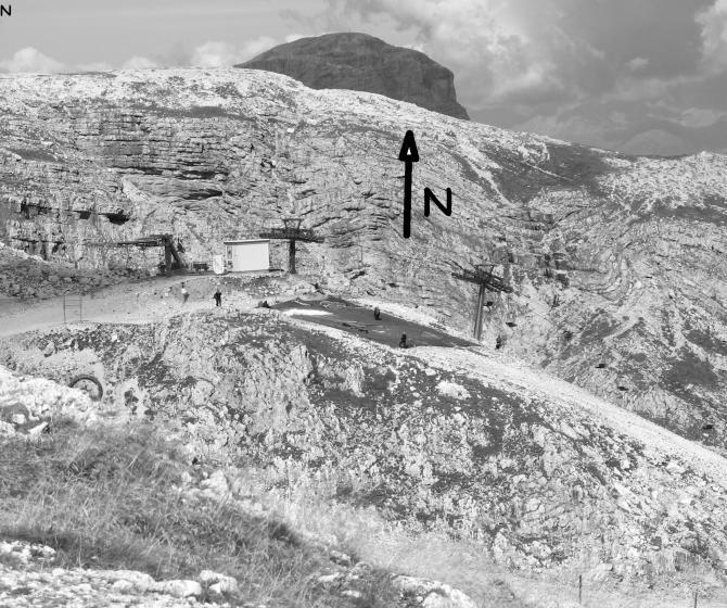 Startplatz Bergstation, von der Hütte aus gesehen.