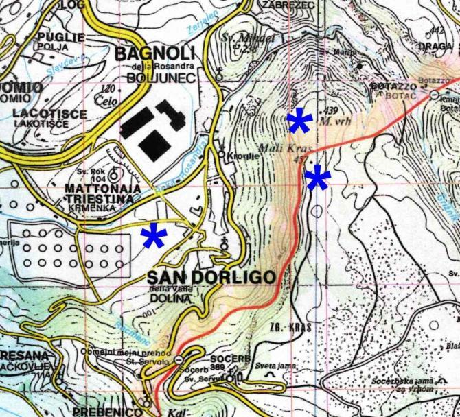 Man beachte die Landesgrenze IT-SI !   Karte©www.centrofriulanoparapendio.it
