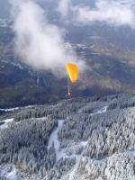 Paragliding Fluggebiet Europa » Österreich » Vorarlberg,Golm,Bei leichtem Schneegestöber beim Restaurant gestartet.