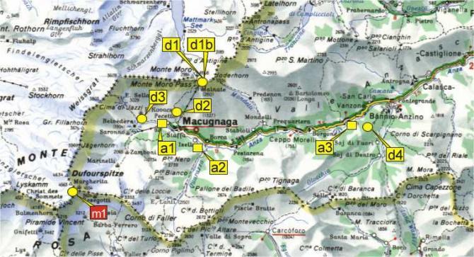 Übersicht)(©www.parapendiomacugnaga.it) d1 -Passo del Monte Moro d1 bis -Passo del Monte Moro d2 -Alpe Bill d3 -Roffelstaffel d4 -Provacci m1 Capanna Margherita/ Pta Gnifetti (4554m)  a1 -Pecatto/ prato del Miger a2 -Isella a3 -Vanzone/ Albarina