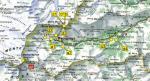 Paragliding Fluggebiet ,,Übersicht)(©www.parapendiomacugnaga.it) d1 -Passo del Monte Moro d1 bis -Passo del Monte Moro d2 -Alpe Bill d3 -Roffelstaffel d4 -Provacci m1 Capanna Margherita/ Pta Gnifetti (4554m)  a1 -Pecatto/ prato del Miger a2 -Isella a3 -Vanzone/ Albarina
