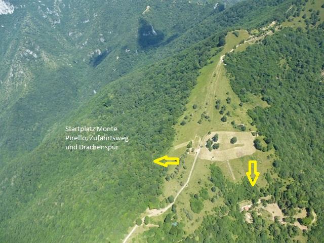SP Monte Pirello, 1160m. Sp Richtung S und W. Auffahrt nur mit Shuttle (Gardaflyingparadise) oder zu fuß (ca 1:45h)