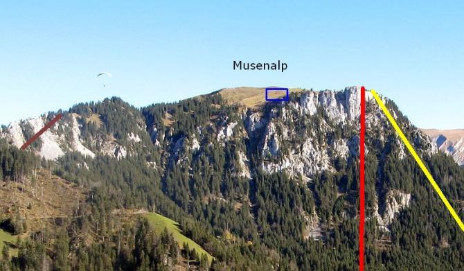 Startplatz Musenalp NW (blau), Seile des Musenalpexpress (rot), Weit gespannte Starkstromleitung (gelb), Transportseil entlang des Abbruchs (braun)