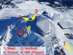 Paragliding Fluggebiet Europa » Schweiz » Graubünden,Arosa - Weisshorn,Situation Winter (seit Restaurant-Neubau 2012).