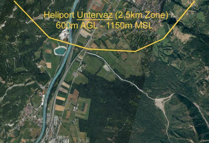für Flüge nördlich von Chur: Heliport Untervaz