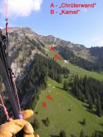 Paragliding Fluggebiet ,,Startplätze - in dieser Aufnahme mit extrem wenig Fliegern