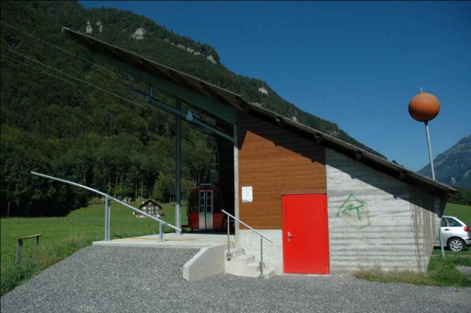 Die Talstation der Diegisbalmbahn