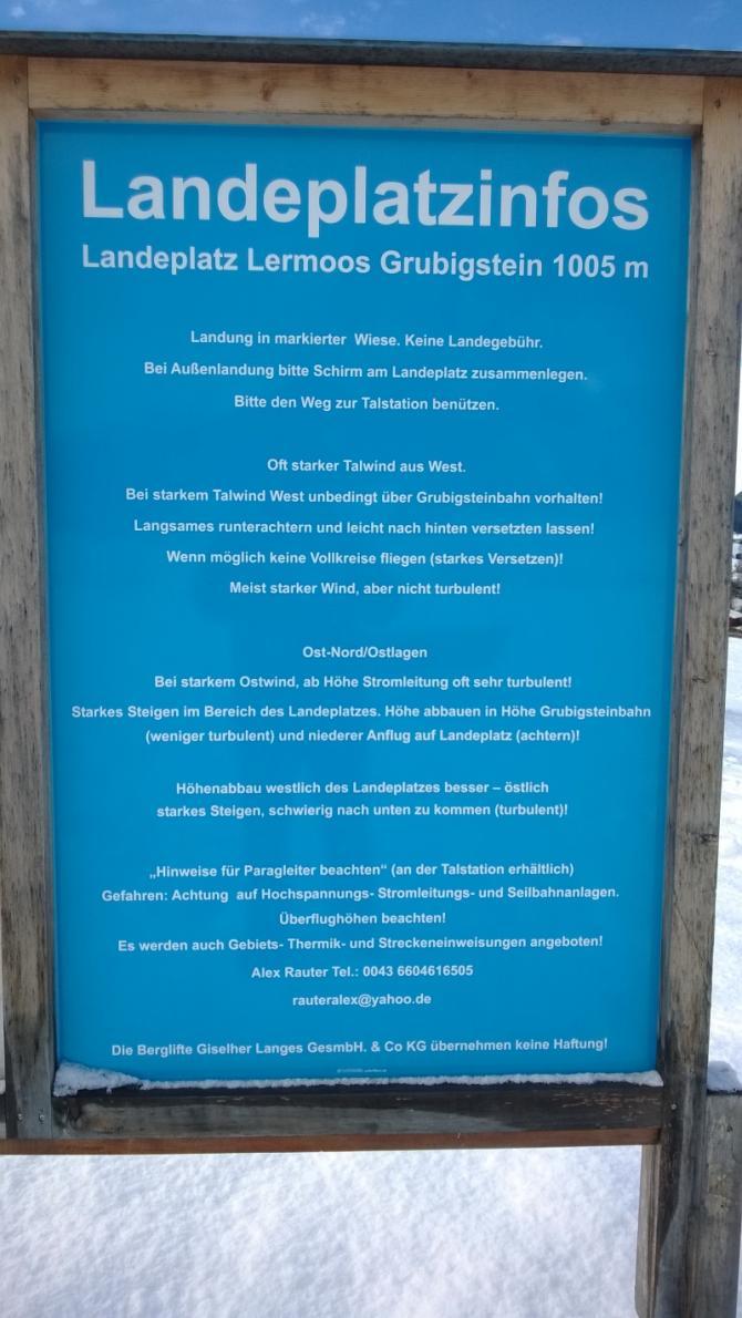 Tafel am Landeplatz, Dezember 2013