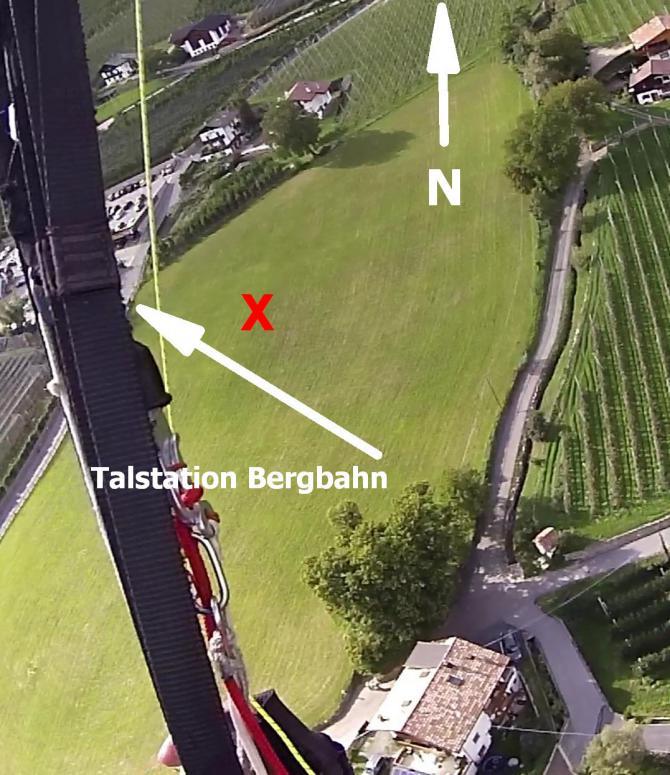 Anfänger sehen sich den Startplatz und die Landung der Tandems sehr genau an, bevor sie es wagen. Bei Null Wind geht es einfacher. Die Bewässerungsrohre sieht man (je nach Lichteinfall) erst im Endanflug. Position nicht im Süden der Wiese (Turbulenzen).