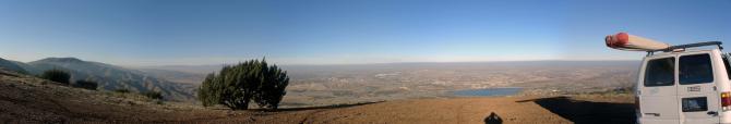 ein 120° Panoramabild in Richtung Norden. Mit Blick auf Palmdale und Lake Palmdale.