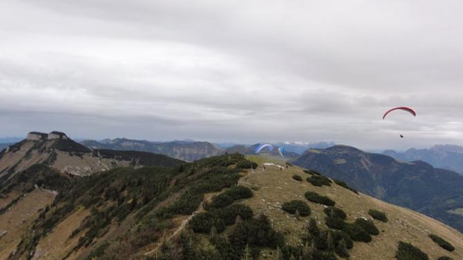Startplaz am Gipfelkreuz Links hinten Schmittenstein!