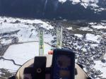 Paragliding Fluggebiet Europa Schweiz Graubünden,Breil-Brigels,Der Landeplatz Brigels neben der Talstation und dem Parkplatz. Genial, um auch mit den Skiern zu landen. (Gestartet bin ich am Fil oben neben der Bergstation)