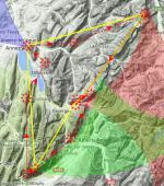 Paragliding Fluggebiet Europa » Frankreich » Rhone-Alpes,Verthier Delta,Hier mit XC-Planner  1. Area schon kennen 2. Tag derwischen 3. Zone Bauges-NS ! 4. Talwinde hochreichend  Grafic:parapente.ffvl.fr