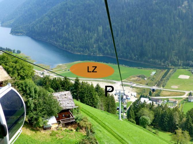 Grosszügige LZ am See - keinerlei Hindernisse, gleich vis-à-vis Parkplatz und Bahn