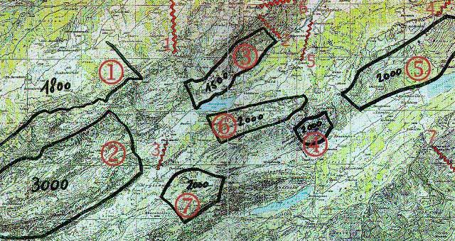 Wildschutzzonen und gefährliche Kabel. Die schwarzen Zahlen in den Zonen sind Angaben zur Mindestflughöhen über Meer in Metern, wenn man das Gebiet überfliegen will.