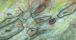 Paragliding Fluggebiet ,,Wildschutzzonen und gefährliche Kabel. Die schwarzen Zahlen in den Zonen sind Angaben zur Mindestflughöhen über Meer in Metern, wenn man das Gebiet überfliegen will.