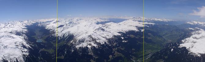 Pano auf 3500m am Aelpeltispitz: links Richtung Davos (mit See); in der Mitte: Gotschna; nach rechts das Prättigau