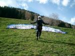 Paragliding Reise Bericht Europa Italien Trentino-Südtirol,Südtirol - Vintl und Umgebung, Weitental,Andy beim Start am Oberhof Foto: Michael Friedchen
