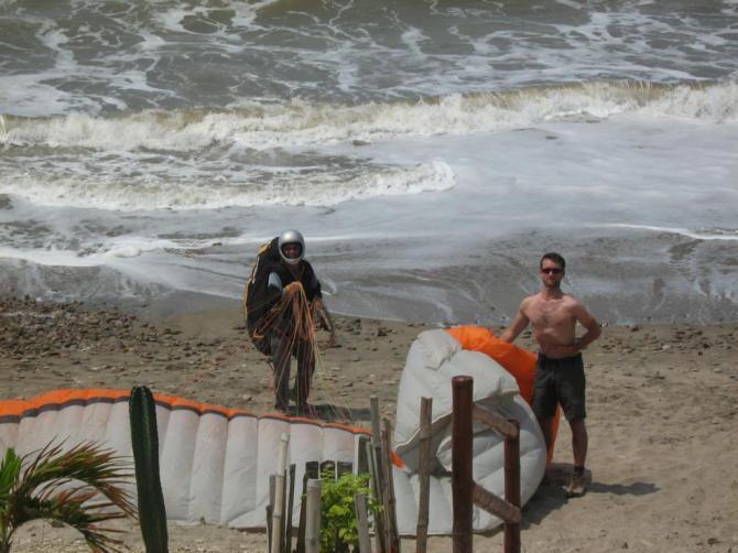 Landng am Strand